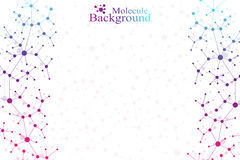 Colorful graphic background molecule and communication. Connected lines with dots. Medicine, science, technology design Stock Photos