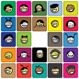 Colorful graphic of cute and happy faces of childr Stock Photography