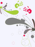 Colorful graphic design. Illustration of hand prints and graphic elements Royalty Free Stock Image