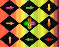 A colorful graphic design of arrows pointing to each other. Bright colorful background with a black diamond pattern and arrows pointing to each other Royalty Free Stock Photos