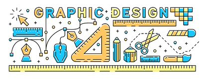 Colorful Graphic Design Concept. Flat Line Design Illustration. Youthful and Modern Vector stock illustration