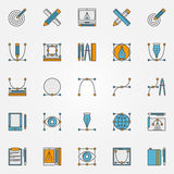 Colorful graphic design icons. Vector collection of design signs. Creativity designer pictograms Stock Image