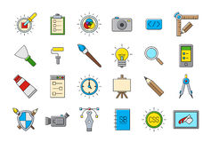 Colorful graphic design vector icons set Stock Images