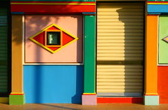Colorful graphic facade of shophouse at little Ind Royalty Free Stock Images