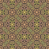 Colorful graphic flower pattern on brown Royalty Free Stock Images