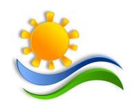 Sun logo design. Colorful graphic illustration. Paper cut effect Stock Image