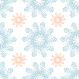 Colorful graphic rose snowflake on a blue background. Floral seamless pattern. Graphic rose snowflake   flowers handmade  white blue background seamless pattern Stock Image