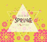 Colorful Graphic Spring Flowers. Sale off Royalty Free Stock Image