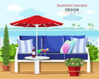 Colorful graphic summer terrace by the sea. Couch and umbrella on the balcony with the sea landscape. Flat style. Colorful graphic summer terrace by the sea vector illustration