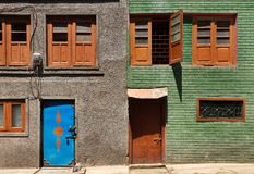 Colorful and graphic of traditional  buildings in Srinagar , Kashmir. India Stock Photography