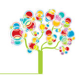 Colorful graphic tree. Graphic tree with circle design elements Royalty Free Stock Photo