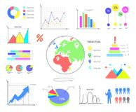 Colorful Graphics and Charts Illustrations Set Royalty Free Stock Photos