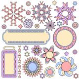Colorful graphics collection with tags, labels,flowers,hearts. Colorful pink, blue and yellow graphics collection with tags, labels,flowers,hearts and circles Royalty Free Stock Images