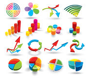 Colorful Graphs. An illustrated set of colorful business graphs, isolated on white background Royalty Free Stock Photography