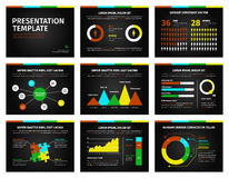 Colorful graphs and presentation graphics on black. Detailed infographic set vector illustration. Colorful graphs and presentation graphics on black background Royalty Free Stock Photos