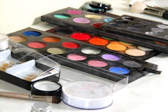 Colorful grease-paint palette Stock Photo