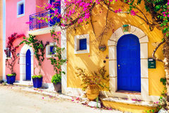 Colorful Greece series - charming streets of Assos village in Ke Royalty Free Stock Photography
