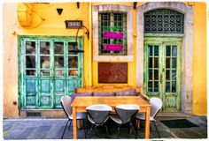 Colorful Greece series - small street restaurants in old town of Stock Photography