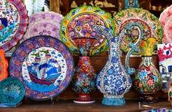 Colorful greek dishware Stock Photos