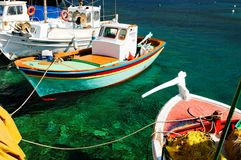 Colorful Greek fishing boats stock image