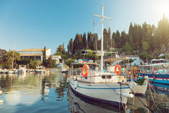 Colorful greek fishing boats stock images