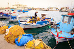 Colorful Greek fishing boats Stock Photo