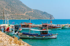 Colorful Greek fishing boats Royalty Free Stock Photo