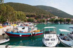 Colorful Greek harbor Stock Images