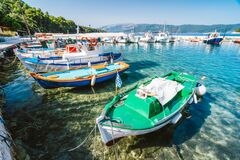 Free Colorful Greek Local Fishing Boats In Small Port Harbor Of Kioni On Ithaka Island, Greece Stock Images - 176923914