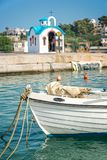 Colorful greek orthodox chapel by the sea near Chania in Crete Greece. Colorful greek orthodox chapel by the sea near Chania in Crete, Greece Royalty Free Stock Photos