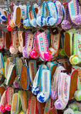 Colorful Greek Slippers. Colorful Traditional Greek slippers hanging front of the gift shop in Rhodes Island,Greece stock images