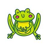 Colorful green amphibian. Vivid green amphibian cartoon character illustration isolated on white background. Fubby frog stock illustration