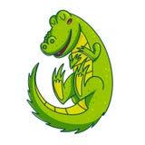 Colorful green amphibian. Vivid green amphibian cartoon character illustration isolated on white background. Funny crocodile royalty free illustration