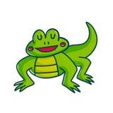 Colorful green amphibian. Vivid green amphibian cartoon character illustration isolated on white background. Funny lizard royalty free illustration