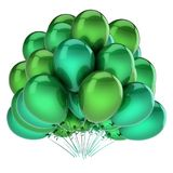 Colorful green balloons beautiful party, birthday, carnival decoration. Helium balloon bunch glossy. holiday, anniversary celebration greeting card design Stock Photo