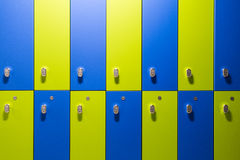 Colorful green and blue children cabinet lockers Stock Image