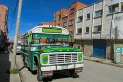 Colorful green bus Stock Photos