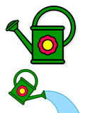 Colorful green cartoon watering cans Stock Images