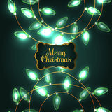 Colorful Green Glowing Christmas Lights. Royalty Free Stock Photos