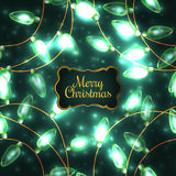 Colorful Green Glowing Christmas Lights. Royalty Free Stock Image