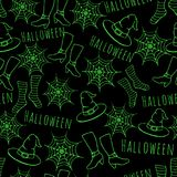 Colorful green hand drawn vector halloween seamless pattern on the black background. Royalty Free Stock Images