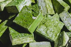 Colorful green handmade Turkish olive oil soaps. With plenty of interesting textures Royalty Free Stock Image