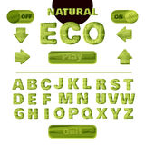 Colorful green natural font for the creation and design of interface of mobile games and applications. Vector. Illustration royalty free illustration