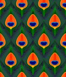 Colorful green orange and blue peacock tail feathers seamless pattern, vector royalty free illustration
