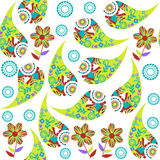 Colorful green Paisley seamless pattern and seamless pattern in Royalty Free Stock Photography