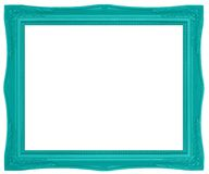 Green Picture Frame. Modern plastic bright green picture frame with antique styling isolated on white background