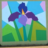 Colorful Green and Purple Flower Mural On James Road in Memphis, Tennessee. Stock Photography