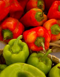 Colorful green and red peppers. Stock Images