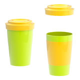 Colorful green and yellow blank coffee cup Royalty Free Stock Image