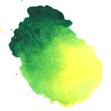 Colorful green-yellow watercolor stain with aquarelle paint blot Royalty Free Stock Images